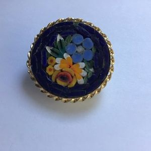 Vintage Micro Glass Mosaic Brooch Pin